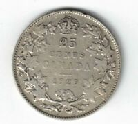 CANADA 1929 TWENTY FIVE CENTS QUARTER KING GEORGE V .800 SILVER CANADIAN COIN