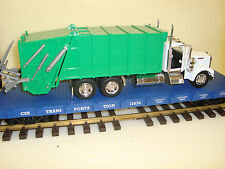 G-Scale 1/32 Die Cast Garbage Truck & USA Trains Flatcar NEW 3 Road name Choices