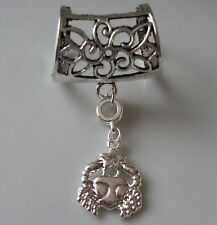 Cancer Scarf Bail Ring Zodiac Astrology Design Silver Coloured + Free Gift Bag