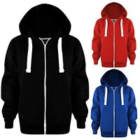 New Kids Girls & Boys Unisex Plain Fleece Zip Up Hoodie Jacket Long Sleeve Coat