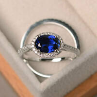 Real 14K White Gold 1.90 Ct Oval Diamond Sapphire Engagement Ring Size 5 6