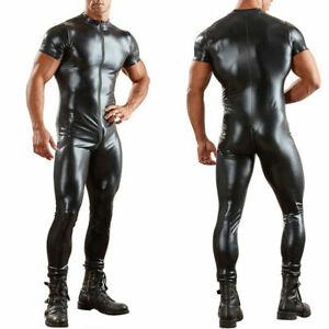 Sexy Mens Black Faux Leather Bondage Fetish 2 Way Crotch Zipper Jumpsuit Catsuit