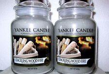 "SET OF 2 Yankee Candle ""CRACKLING WOOD FIRE"" Large 22 oz.~ EUROPEAN ~TAN LABEL"