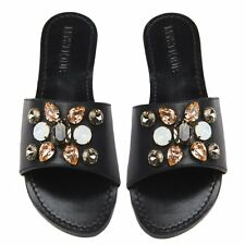 MYSTIQUE Jeweled Rhinestone Crystal CANCUN Black Leather Sandals Slides NEW 7