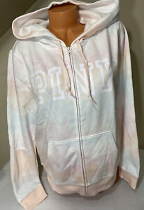 NWT Victorias Secret PINK Tie Dye Full Zip Hooded Sweatshirt Size XL