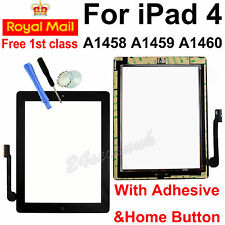 For iPad 4 A1458 A1459 A1460 Black Touch Screen Glass Digitizer +Button&Adhesive