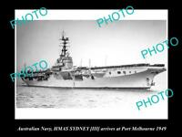 OLD LARGE HISTORIC PHOTO OF AUSTRALIAN NAVY SHIP HMAS SYDNEY III c1949