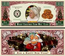 Mrs Claus Christmas Million Dollar Bill Collectible Funny Money Novelty Note