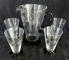 STYLISH ART DECO LEMONADE SET JUG +4 GLASSES PIMMS/COCKTAILS