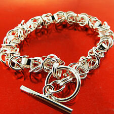 A698 GENUINE REAL 925 STERLING SILVER SF SOLID LADIES TBAR STYLE BRACELET BANGLE