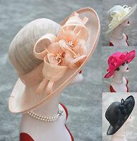 New Womens Kentucky Derby Wedding Sinamay Ascot Dress Wide Brim Church Hat T120