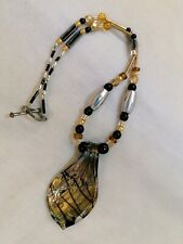Glass Pendant Necklace Bronze Lampwork Style Beaded Bohemian