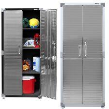 Seville Garage Metal Storage Cabinet Shelving Stainless Steel Doors, New
