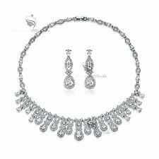 18k white gold gf made with SWAROVSKI crystal stud necklace party wedding set