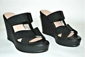 Pesaro Womens Heather Wedge Sandals Size 7 M Black Strappy Heels