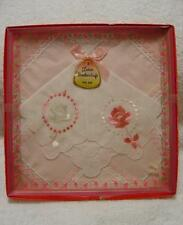 VINTAGE PINK EMBROIDERED LACY HANDKERCHIEFS VALENTINES DAY WEDDING GIFT BOX SET
