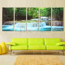 30x60CM 5Pcs Canvas Painting Forest Waterfall Wall Art Picture Home Room Decor