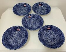 Churchill Wessex China England Blue Cereal Bowls - Set of Five