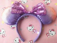 New Tokyo Disney Resort Minnie Mickey Mouse Bow Discolor Sequin Headband Ears