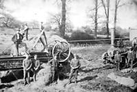 Hme-50 WW1, Soldiers And Farmhands Bailing Hay, Traction Engine, Farming. Photo