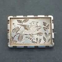 Victorian Sterling Silver Hand Engraved Brooch - Song Bird in the Branches -