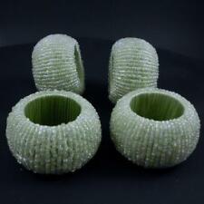 Set of 4 Light Green Glass Beaded Napkin Rings Holders
