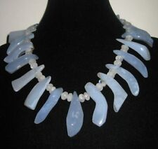 Gemstone Necklace, Handmade Natural Blue Chalcedony/ Moonstone Necklace