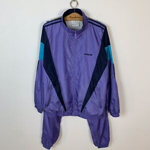 90s Vintage Men's Adidas Originals Tracksuit Jacket and Pants Purple Size L