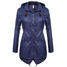 US Womens Winter Raincoat Hooded Ladies Waterproof Jacket Parka Fishtail Hoodies
