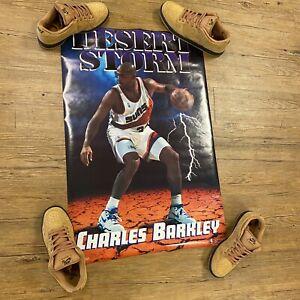 """Nos Vtg 90s Charles Barkley Desert Storm Poster 23"""" X 35"""" Costaco Suns 1992 Rare"""