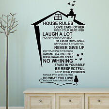 UK New Cat English House Rules Wall Stickers for Family Home Decorations Idea