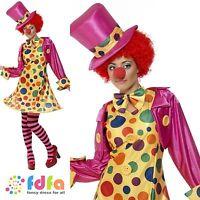 CIRCUS CLOWN LADY HOOPED DRESS ADULT - 8-22 - womens ladies fancy dress costume
