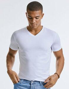 T-Shirt Homme Manches Courtes Encolure V Moulant Coupe Coton Biologique XS -3XL