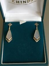 Beautiful Pair of Marked Sterling Silver Marcasite & Grey Stone Dangle Earrings