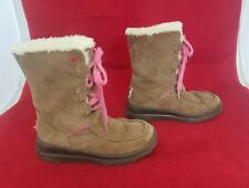 Sz 5 I Heart UGG S/N 1005862 Brown Pink Lacy Shorts Warm Wool Lined Boots