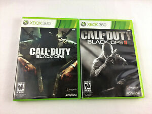 Xbox 360 - Call of Duty Black Ops 1 & 2 Game Set, No Manuals - USED, Free Ship