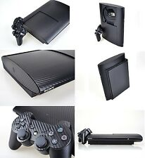 Black Carbon Fiber Skin Sticker for PS3 Super Slim and 2 controller skins