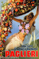 ITALY FASHION FLOWERS ITALIAN GIRL PAGLIERE TRAVEL VINTAGE POSTER REPRO