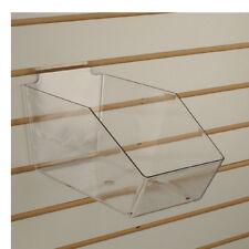 """Slatwall Acrylic Bins Large Bin 6"""" L x 5.5"""" H x 11.5"""" D - Clear - 10 Pieces"""