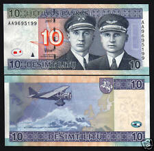 LITHUANIA 10 LITU P-68 2007 REPLACEMENT *AZ* EURO AVIATOR PLANE HORSE UNC NOTE
