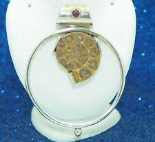 FOSSIL SHELL & RUBY SOLID .925 STERLING SILVER PENDANT 15.8 g