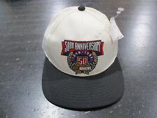 NEW VINTAGE NASCAR Strap Back Hat Cap White Black Racing Racer Racecar Mens 90s