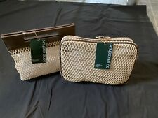 Sonia Kashuk Open Weave Crochet  Set Of 2 Make Up Bags Totes NWT