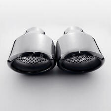 "Pair 2.5"" inch Black Vacuum Plated Oval Resonator Stainless Steel Exhaust Tips"