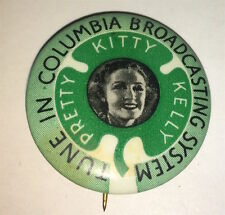 Vintage American Columbia Broadcasting System Music Pretty Kitty Kelly Pinback!
