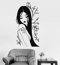 Vinyl Wall Decal Flower Rose Naked Beautiful Japanese Girl Spa Stickers (816ig)