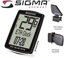 SIGMA WIRELESS 16.16 FUNCTION BICYCLE BIKE COMPUTER w/Cadence Sensor Speedometer