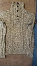 Saks Fifth Avenue Men's Wool Cashmere Thick Cable Knit Henley Cardigan Sweater S