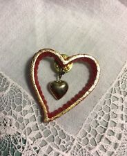 "Valentine Tac Pin Jewelry J-33 Vintage 1-1/2"" Red Heart Plastic"