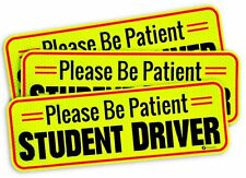 Zone Tech 3x Car Bumper Magnet Please Be Patient Student Driver Reflective Decal